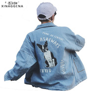 Fashion Cotton Jean Casual Loose Coat Solid Doggy Print Jacket For Men Hip Hop Animal Denim