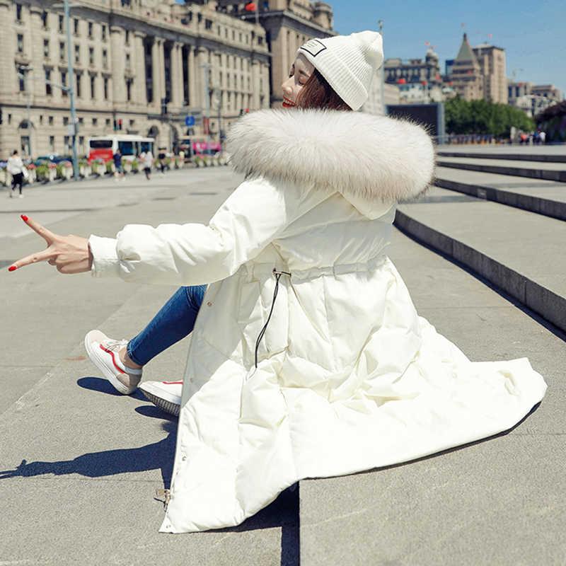 Зимние парки женские пуховики длинные пальто с капюшоном 2018 новая теплая парка Корейская Свободная Женская верхняя одежда с большим меховым воротником No426