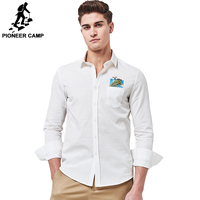 Pioneer Camp White Shirts Men High Quality Brand Clothing 100 Cotton Casual New Fashion Long Sleeve