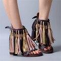 Borlas artesanais Grossas de Salto Alto Das Mulheres Sandálias de Verão Gladiador Sandália de Couro Com Franjas Mulheres Bombas Sandalias Mujer Real