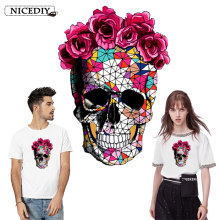 Nicediy Skull Flower Iron On Patches On Clothes Heat Transfer Vinyl Sticker Summer Fabric Badge Stickers Clothes Jeans Washable(China)