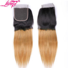 Brazilian ombre straight hair Lace Closure 4x4 Non remy Human Hair 1b/27 honey blonde closure Swiss Lace Top Closure 10-22inches(China)
