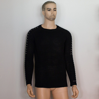 Winter Men Casual Warm Slim Sweater Knitted Striped Long Sleeve Patchwork Pullover Male Elastic Solid Sexy Spring Basic Tops   4