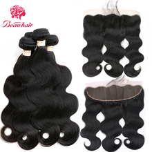 Beauhair Malaysian Body Wave Human Hair Weave 2 Or 3 Bundles With 13*4 Lace Frontal Closure Non Remy With Bundles Hair Extension 8a free shipping malaysian body wave 4 by 4 inch lace frontal closure with 2 bundles body wave hair weft black bouncy nlwhair