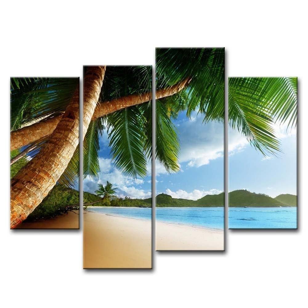 4 Piece Wall Art Painting Beach Caribbean Palm Tree And Mountain Pictures Prints On Canvas Seascape The Picture Decor Oil Print