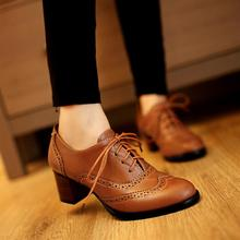 2019 British Retro Carving Pointed Toe Oxford Shoes For Women Casual Thick Medium Heel Leather Shoes Woman Lace Up Flats Zapato