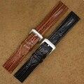 Lagartos grano negro marrón correa de cuero de vaca 20 mm hombres reloj banda pulsera de Fahion reloj accesorios hebilla nueva