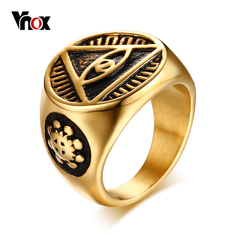 Vnox Antique Men Ring Triangle Eye of Providence Illuminati Pyramid All Seeing Eye Stainelss Steel Male Punk Jewelry seeing red