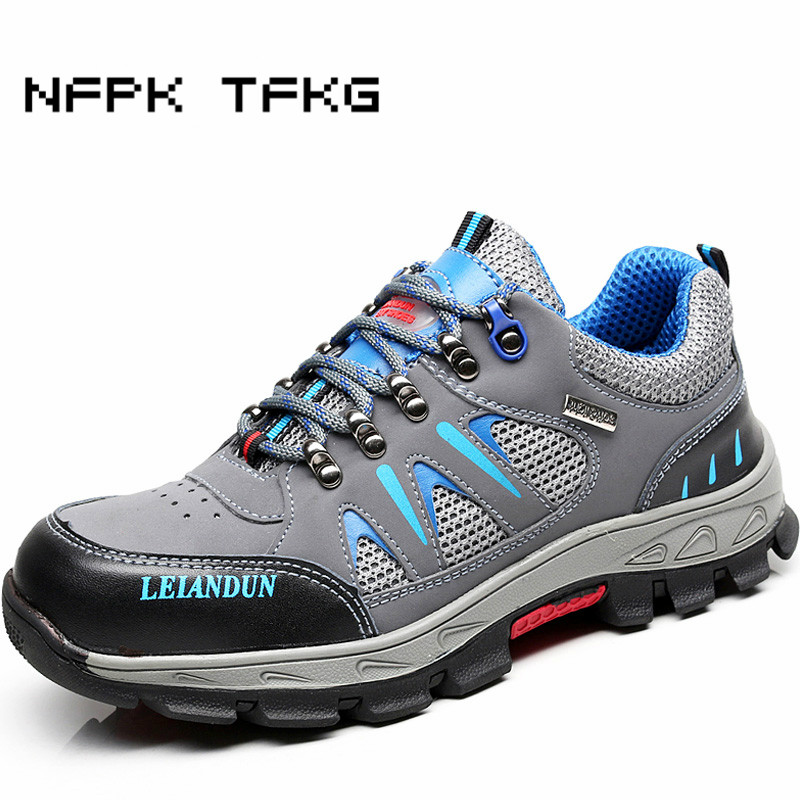 men casual large size steel toe covers work safety shoes cow leather anti-pierce sneaker platform non-slip security boots zapato halinfer men safety work shoes steel toe caps 2018 fashion casual breathable slip on safety boots anti pierce black sneaker shoe