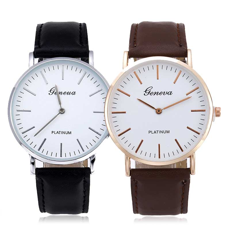 Casual Fashion Suit Watch Men Women Leather Quartz Watches Black Brown Strap Business Watches Top Brand Luxury Bayan Kol Saati