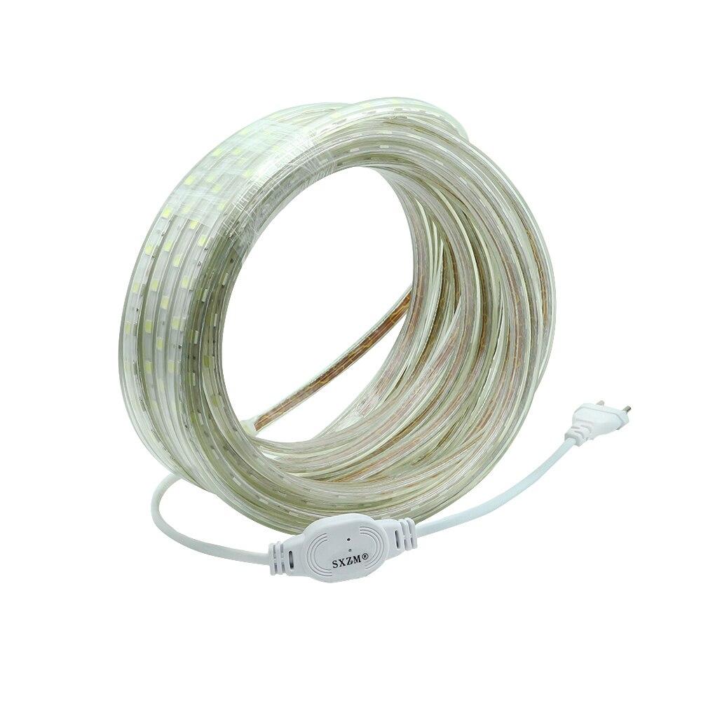 SXZM 220V led strip SMD5050 60led/M Waterproof led tape light with EU power plug White/Warm white/R/G/B outdoor light