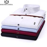 Sergio K Camisa Men S Casual Shirts 2018 Long Sleeve Shirt Slim Fit Dress Shirt Stitching