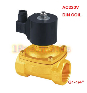 Free Shipping 5PCS/LOT G1-1/4'' Ports Brass 2/2 Way DIN43650A DIN Coil Water Solenoid Valve Large Size 2W350-35-D AC220V настенные часы seiko qxa378z