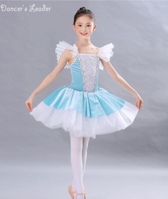 Новые синие сверкающие детское платье для девочек; балетная юбка-пачка, для выступления костюм, одежда для выступлений тренировочная одежда для занятий гимнастикой