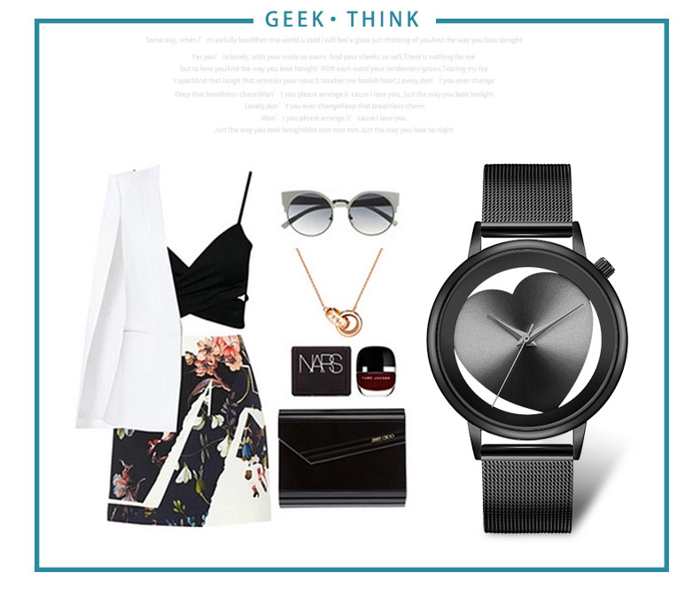 Women Watches Quartz Hollow Analog Stainless Steel Mesh Band Rose Gold Luxury Brand Design Wristwatch Fashion Dress New 11