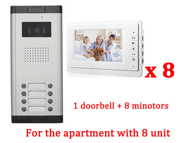 Apartment 8 Unit Intercom Entry System Wired Video Door Phone Audio Visual new apartment 2 unit intercom entry system wired video door phone audio visual