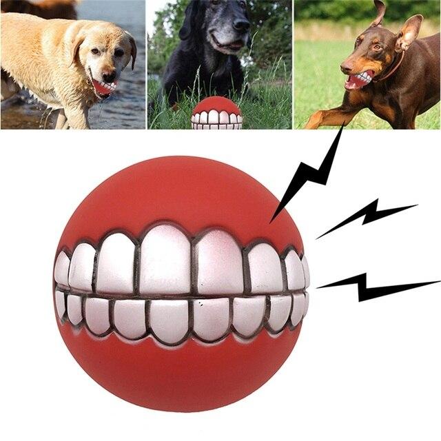 """1 шт. Домашние животные Собака Щенок Кот мяч игрушка """"зубы"""" Забавный из красного ПВХ звук жевания собаки играть плющенные скрипки игрушки товары для домашних животных"""