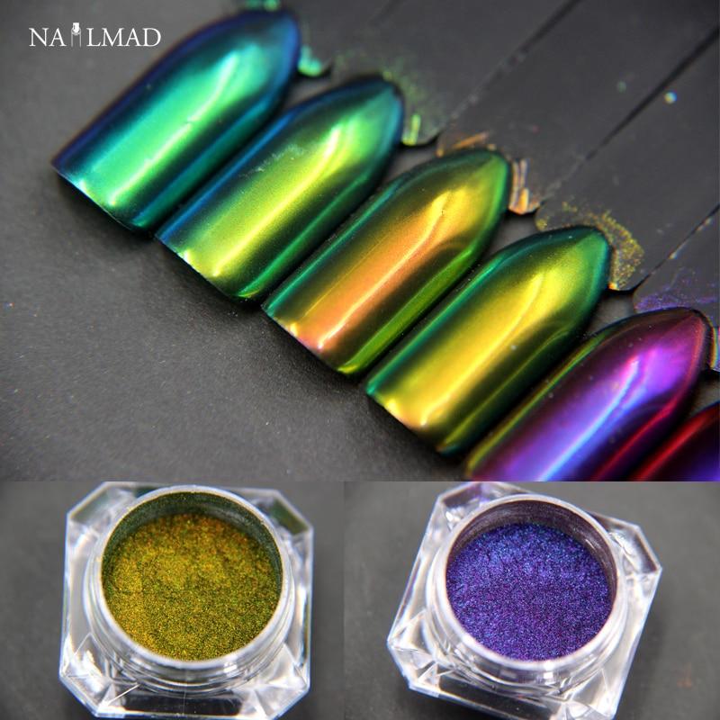 1g Chameleonpulver Multichrome nagelpulver Färgbyte Spikspikar Nagellackare Skimmer Glitter Damm
