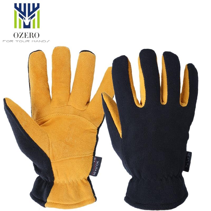 OZERO Winter Ski Gloves Outdoor Sport Warm Gloves Deerskin Windproof Below Skiing Cycling For Men Women 8007