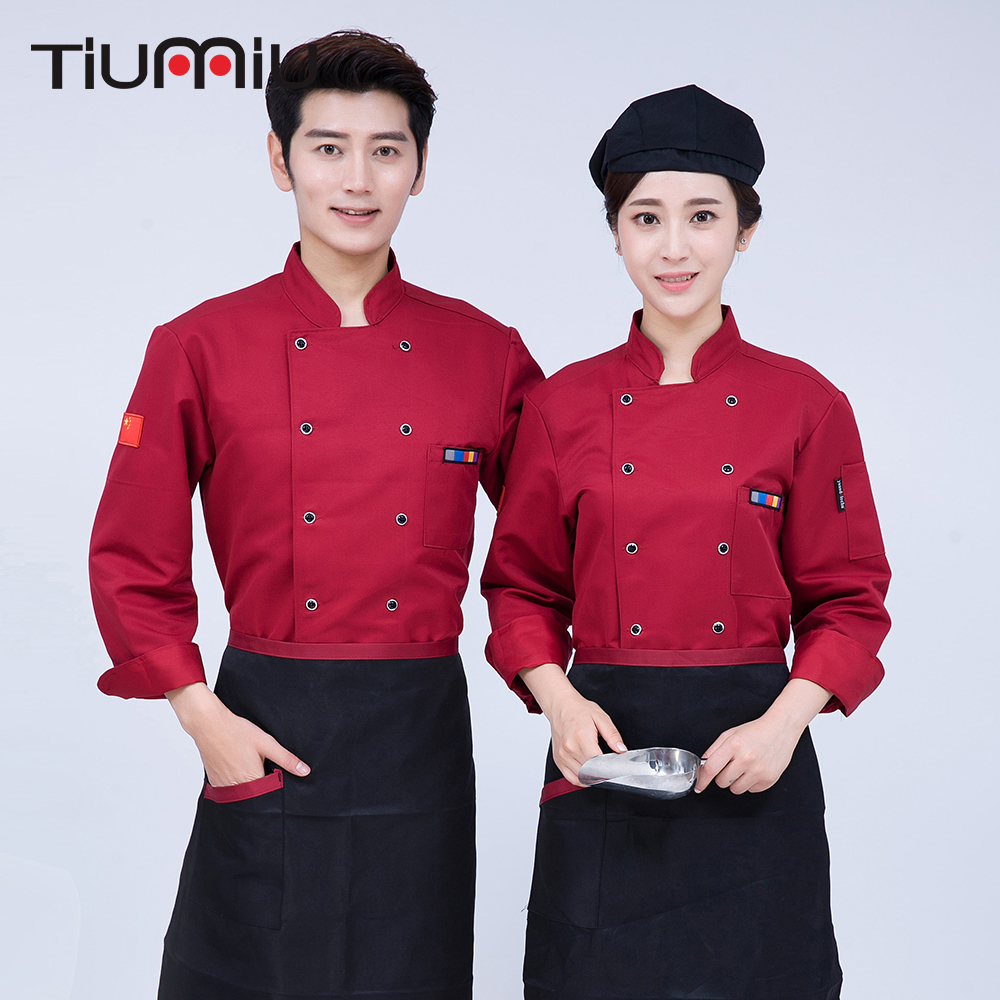 Women Men Double Breasted Embroiedary Long Sleeve Chef Work Clothing Hotel Restaurant Waiter Uniforms Cook Overalls Cozinha Coat