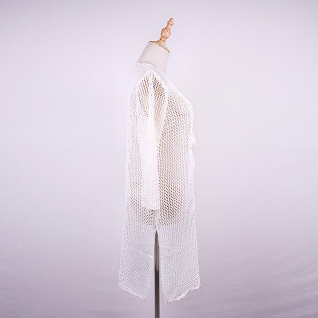 Été plage Sarongs Bandage cravate corde Crochet évider robe tricotée maillot de bain maillots de bain femmes plage robe tunique
