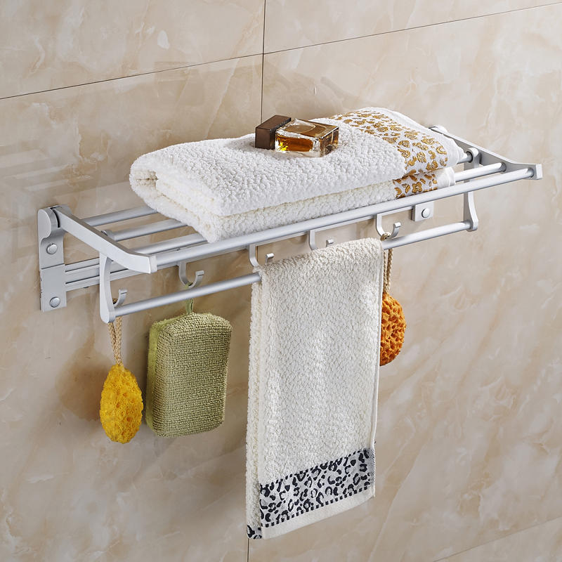 Space aluminum bathroom hardware pendant towel bath towel rack/activities bathroom shelf hanging hook free shipping two layer bathroom rack space aluminum towel washing shower basket bar shelf