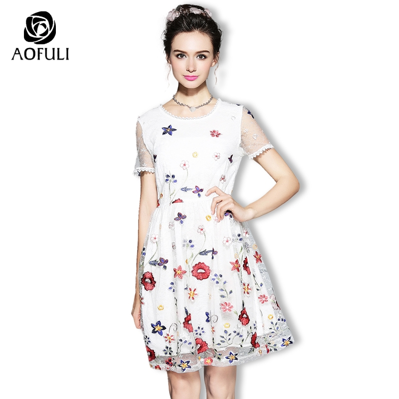 L 4XL Women Floral Embroidery Mesh Party Dresses Summer Big Size Short Sleeve Knee Length White