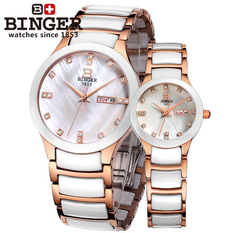 Suisse Binger Space céramique femmes montres de mode quartz montres strass amoureux horloge résistant à l'eau B-8007L-3 - 5