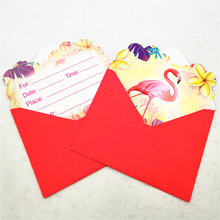 6pcs/set Cartoon Flamingo Party Supplies Envelope Invitation Card Childrens Birthday Decorations Kids Festival Favors