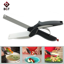 Clever Cutter 2 in 1 Kitchen Knife & Cutting Board Scissors Stainless Steel Kitchen Food Cutter for Meat Vegetable As Seen On TV