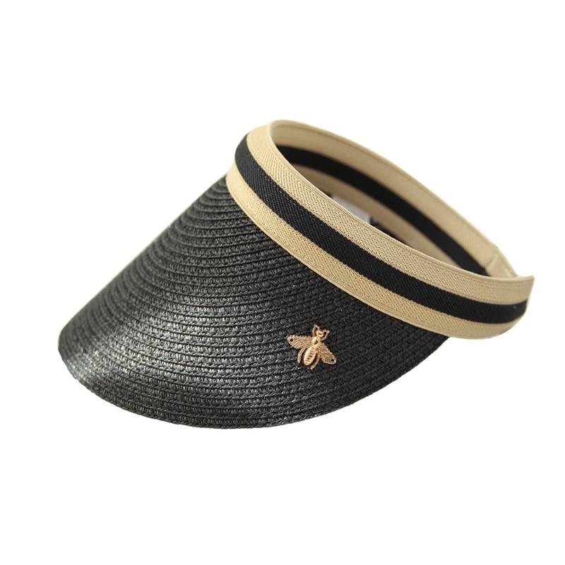 2019 Summer Woman Sun Hats Anti-UV Female Outdoor Visor Caps Hand Made Straw Cap Casual Shade Hat Empty Top Hat Beach Cap