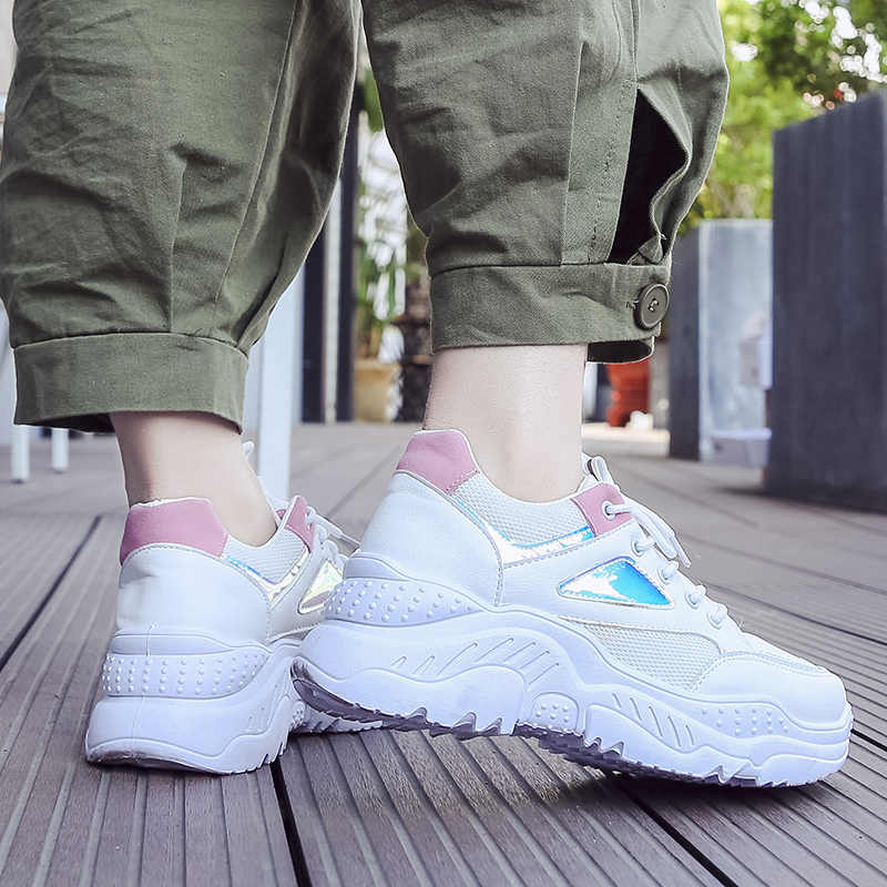 Fujin Scarpe Da Ginnastica di Moda per Le Donne scarpe Da Ginnastica Della Piattaforma Bianco Scarpe Da Tennis Cunei Delle Signore Della Maglia Casual Scarpe Zapatillas Chunky Plataforma