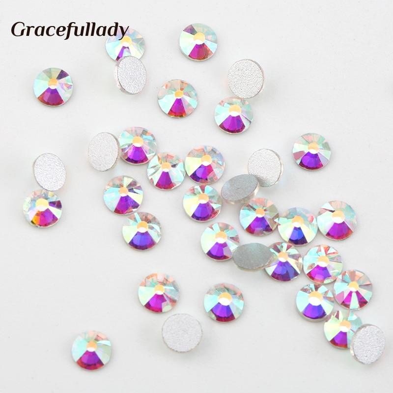 Super Glitter Crystal AB Rhinestones Flat Back Glass Chameleon Nail - Nagel konst - Foto 4