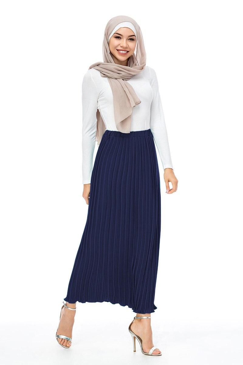 Image 5 - Maxi Muslim Women pleated skirts  fashion elegant daily wearing  with falbala  Half Long ankle skirts SK9017Islamic Clothing   -
