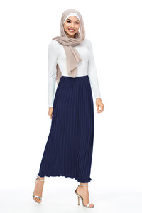 Image 5 - Maxi femmes musulmanes jupes plissées mode élégant porter quotidien avec falbala demi longues jupes à la cheville SK9017