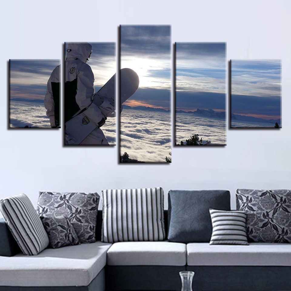 Poster Modular Canvas Pictures Artworks 5 Pieces Sports Skateboard Landscape Painting Decor Living Room Wall Art HD Prints Frame