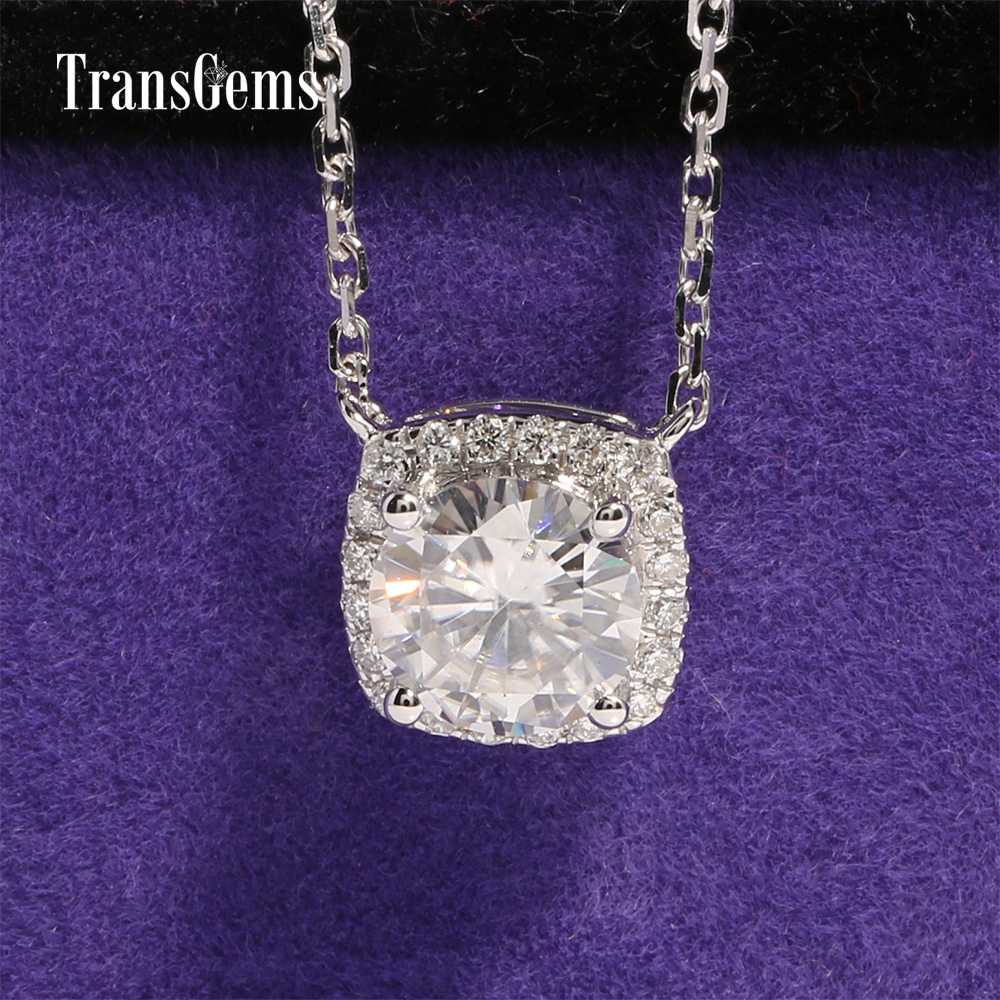 TransGems 18K White Gold 1 Carat ct Lab Grown Moissanite Pendant Necklace moissanite Accent Gorgeous Women Jewelry 18k 750 white gold pendant gh color round lab grown moissanite double heart necklace diamond pendant necklace for women jewelry