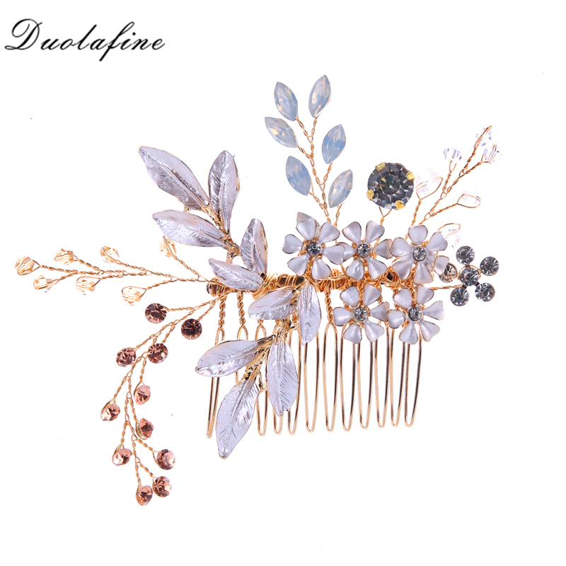 Gold Flowers Rhinestone Crystals Wedding Hair Accessories Bride Bridal Floral Hair Comb  ...
