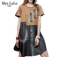 Max LuLu Summer 2018 Fashion Sexy Japan Girls Harajuku Streetwear Womens Denim Dresses Patchwork Vintage Woman Casual Clothing