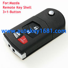 4 Button Remote Key Case Shell Fob For Mazda 3 5 6 RX8 CX7 CX9 Replacement with battery hold