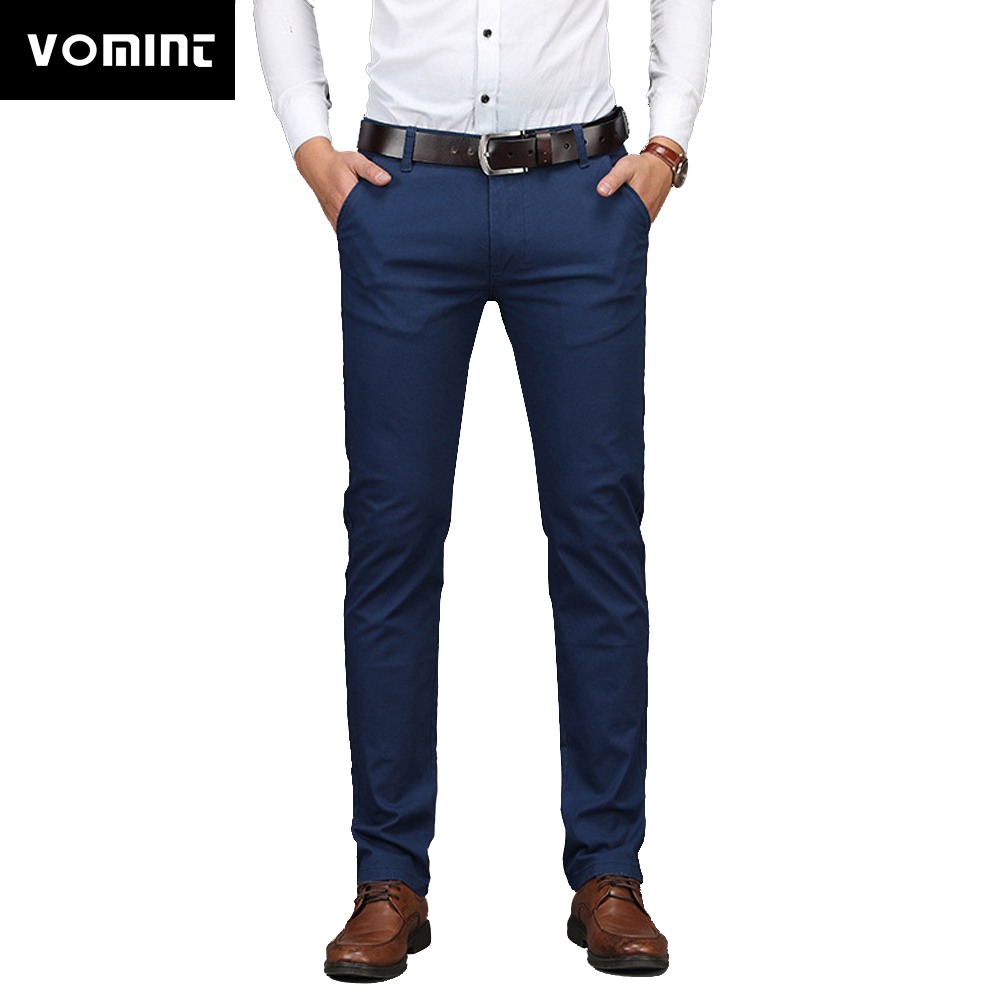 VOMINT Casual Pants Men Loose-Fit Straight-Cut Stretch Pants Middle-aged Business Casual Pants Male Light Pants 8602