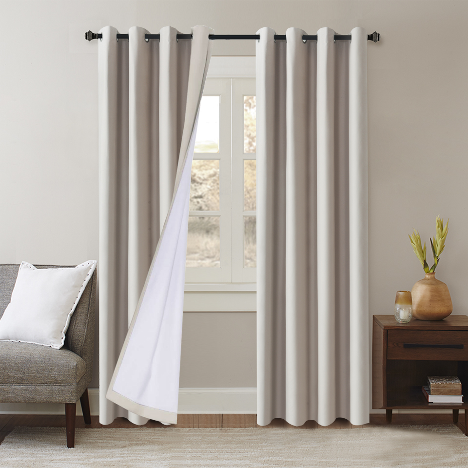 Image 2 - Flocked 100% Blackout Window Curtains Thermal Solid Curtain For Bedroom Living Room Fire Retardant Fabric Drapes-in Curtains from Home & Garden