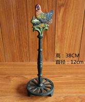 2 Wrought Iron Toilet Roll Holder Cock Rooster Antique Metal Animal Kitchen Paper Holder Stand Bathroom Living Room Home Decor