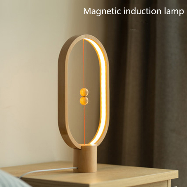 Led Smart Magnetic Suspension Balance Lamp Night Light Bedroom Nightstand  Table Lamp Personality Modern Log Lights