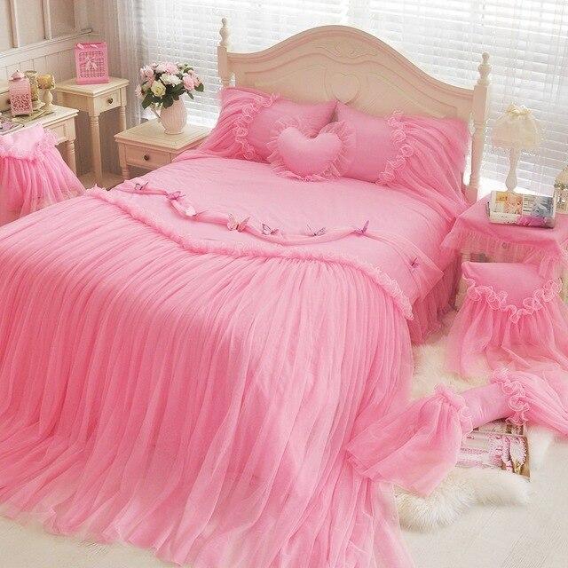Winlife Luxury Blue Pink Purple Korean S Bedding Set Lace Ruffled Duvet Cover Sets Twin
