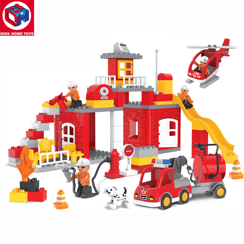 Kid's Home Toys Large Size 90PCS City Fire Station Fire Engine Model Fireman Figures Block Brick Kids Toy Compatible With Duploe qwz 60 90pcs city fire station fire engine duplo large size building blocks fireman figures compatible with duplo for kids toys