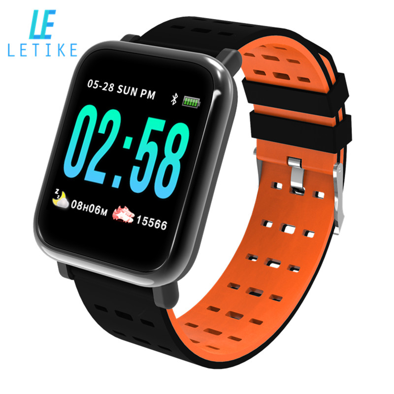Letike A6 fitness tracker Bluetooth Smart Watch blood pressure monitor Sport Smart Wrist Watch smart bracelet for Android iOS