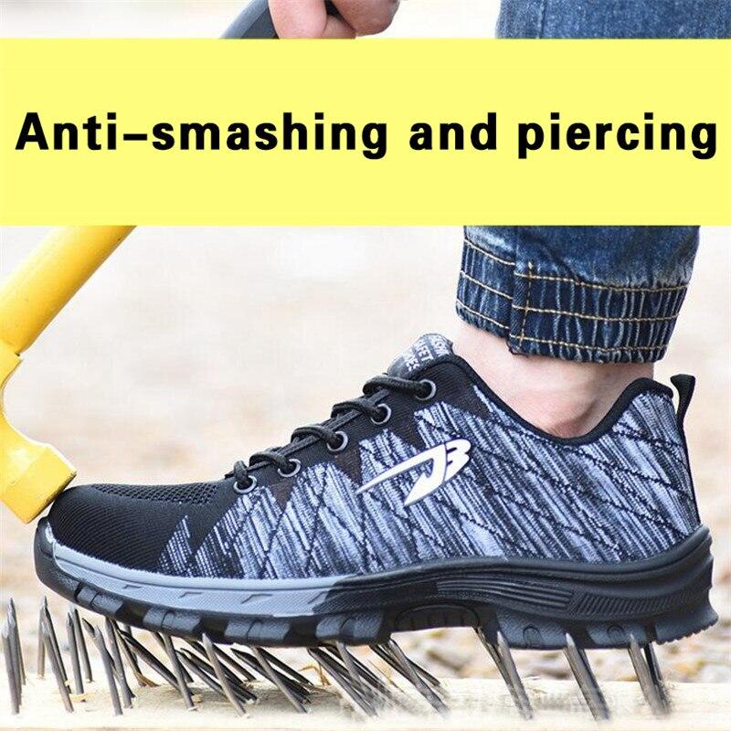 ELGEER Couple randonnée chaussures de protection volant tissé respirant chaussures pour hommes anti-fracassant anti-piercing travail chaussures de sécurité 35--46