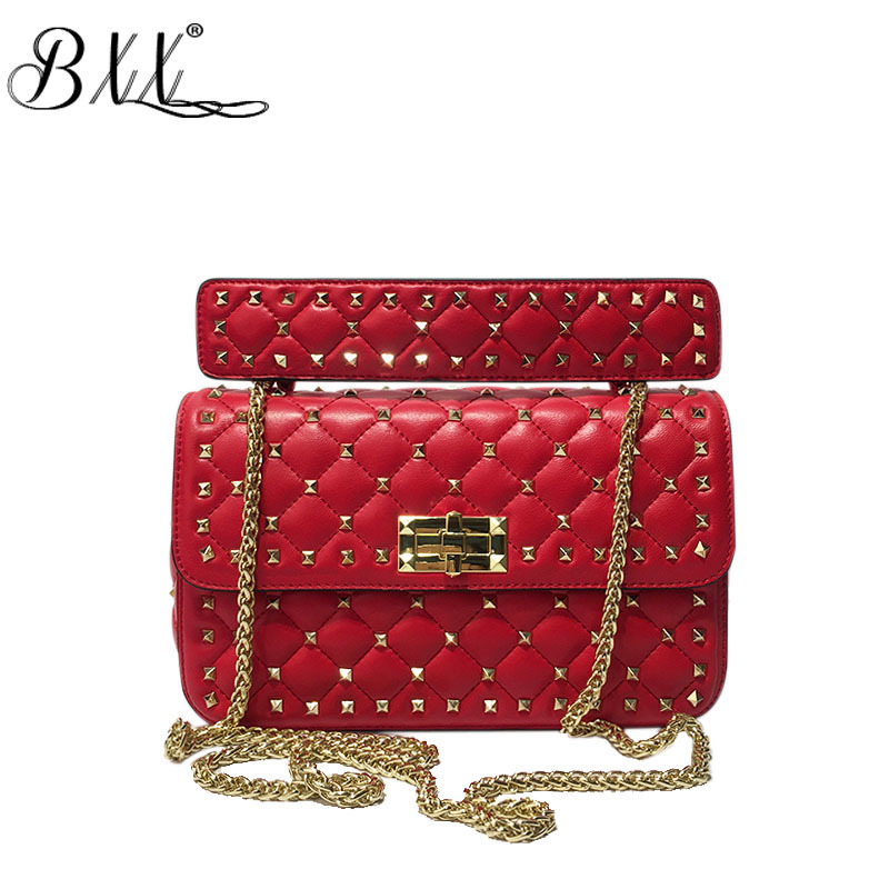 BXX Bag / 2019 New Women Rivetd Rhombic Chain Wild Light Luxury Small Square Bags Rivet Shoulder Messenger Bags Handbags ZC384-in Shoulder Bags from Luggage & Bags    1