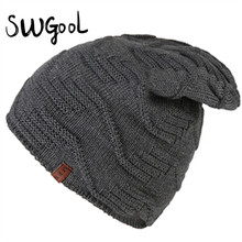 [SWGOOL] вязаная шапка 2016 зимние шапки для мужчин Сплошной цвет Волны полосой головкой Теплые холодной лыжные cap новая мода hat cap